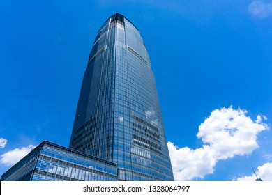 Jersey City, NJ / United States - June 29, 2019: A close-up landscape view of the Goldman Sachs & Co building on the Jersey City waterfront
