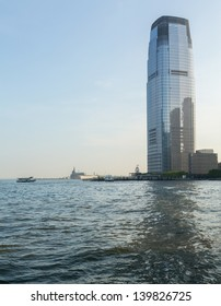 JERSEY CITY, NJ, USA - 22 MAY: Goldman Sachs Tower at Exchange Place in Jersey City on 22 May 2013. The tower at 781 feet is the tallest building in New Jersey