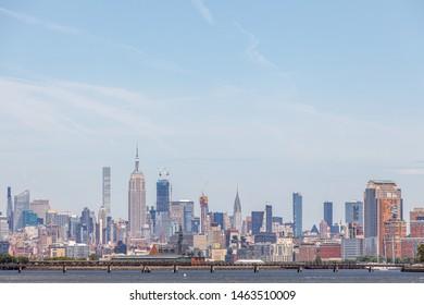 Jersey City, NJ / USA - Jun 2019: Manhattan skyline form Liberty State Park
