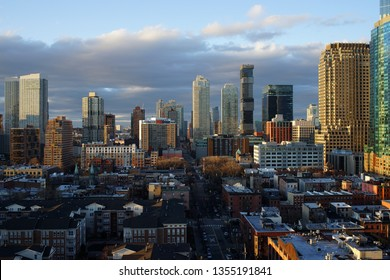 Jersey City, NJ / USA - March 31, 2019: Golden hour in Jersey City