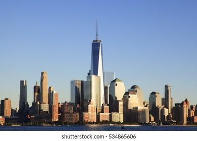 Jersey City, NJ, USA - September 25, 2016:1 World Trade Center and Financial District: 1 World Trade Center and Financial District are one of centers of world money markets.