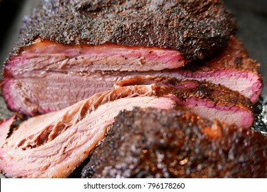 Jersey City, NJ/USA - May 2017: Sliced smoked brisket.