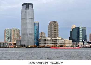 JERSEY CITY - OCTOBER 12 2009:Goldman Sachs Tower in Exchange Place in  Downtown Jersey City, New Jersey seen from Lower Manhattan. Build in 2004, the tallest building in New Jersey rises 548 feet.