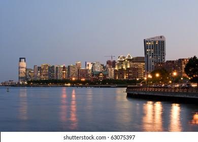 Jersey city skyline at dusk, New Jersey
