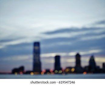 Jersey City skyline sunset out of focus