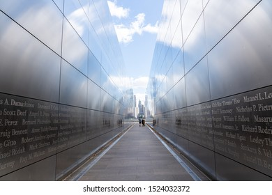 Jersey City, United States of America - September 24, 2019: The Empty Sky Memorial, the official New Jersey memorial to the state's victims of the September 11 attacks.