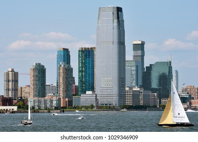 JERSEY CITY, USA - AUG 27: Goldman Sachs Tower, is the tallest building in New Jersey. August 27, 2017 in Jersey City, New Jersey