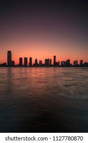Jersey city view from Hudson river at sunset