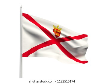 Jersey flag floating in the wind with a White sky background. 3D illustration.