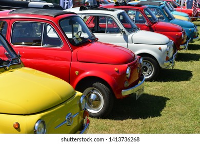 Jersey, U.K. June 1st 2019, A collection of Fiat 500 Cinquecento's at the Jersey International motoring festival at People's Park in St Helier.
