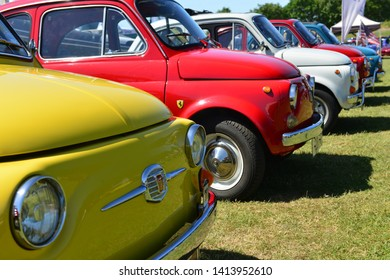 Jersey, U.K. June 1st 2019, 1960's/70's Fiat 500 vintage Cinquecento's at the Jersey International motoring festival at People's Park in St Helier.