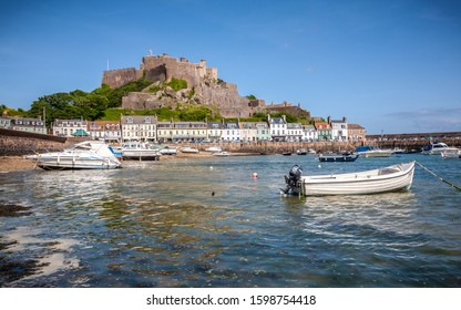 Jersey, UK, may 15th 2011: Gorey harbour and Mont Orgueil Castle, Jersey, The Channel Islands