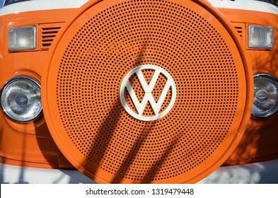 Jersey,U.K.February 21st 2019, Volkswagon Transporter 1970's van in orange.