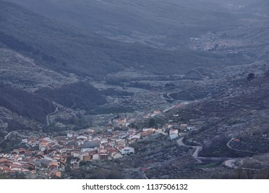 Jerte valley from Tornavacas viewpoint. Cherry blossom. Rural Spain. Horizontal