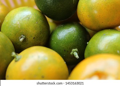 Jeruk kasturi ( in Indonesian ) or calamansi closeup photo
