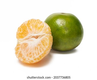 Jeruk Siam Pontianak is a variety of orange originated from Pontianak, Indonesia on white background, (With clipping path)