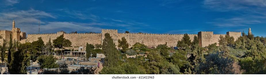 Jerusalem - 10 February 2017:  Jerusalem old city wall, panorama