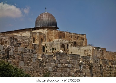 JERUSALEM -10 JULY 2016- View of the Al Aqsa Mosque located in the Al-Haram Ash-Sharif in the Old City of Jerusalem, a UNESCO World Heritage Site.