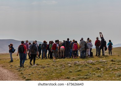 Jerusalem - 10.04.2017: Group of people trekking in the mountais near Jerusalem