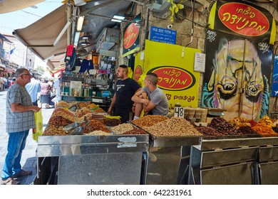 Jerusalem 15.05.2017 - People buy food at the Jerusalem Mahane Yehuda local market