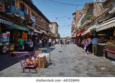Jerusalem 15.05.2017 - People buy foodstuff at the Jerusalem Mahane Yehuda local market