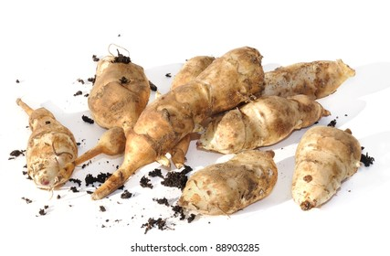 Jerusalem artichokes fallow picked on white background with little soil
