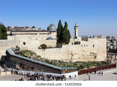 JERUSALEM - AUG. 11:wailing wall and bridge leading to Temple Mount , Jerusalem - August 11, 2012, Israel, bridge over which Israeli police goes over  in  Arab part of Temple Mount during the riots