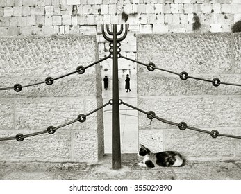 JERUSALEM - August 20, 1986: A cat relaxes as orthodox Jews pray at the Jewish sacred site of the Wailing Wall or Western Wall ('HaKotel HaMa'aravi') on August 20, 1986 in Jerusalem, Israel.