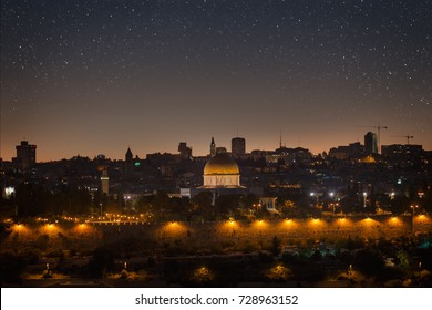 Jerusalem city view of dome of the rock at night with starry sky
