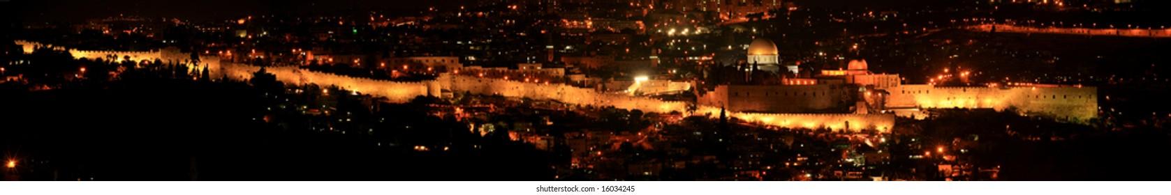 Jerusalem city walls at night