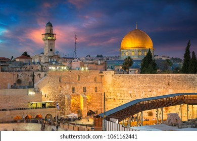Jerusalem. Cityscape image of Jerusalem, Israel with Dome of the Rock and Western Wall during sunset.