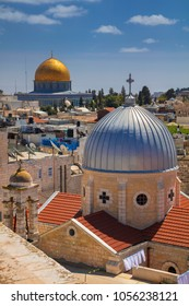 Jerusalem. Cityscape image of old town Jerusalem, Israel with the Church of St. Mary of agony and the Dome of the Rock.