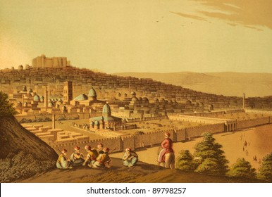 Jerusalem. Engraved by Luigi Mayer and published in Views in Egypt, Palestine and Other Parts of the Ottoman Empire, United Kingdom, 1804.
