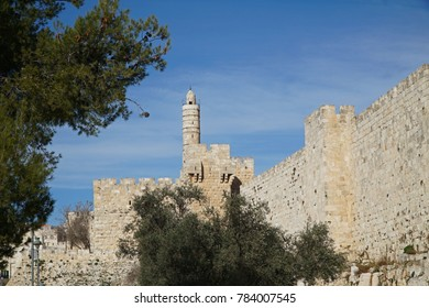 Jerusalem, exterior of the Old City Wall, with Tower of David