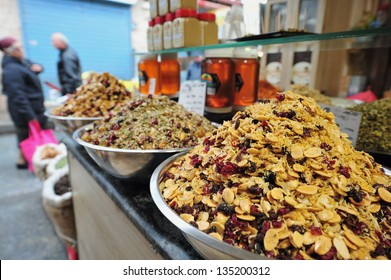 JERUSALEM - FEB 06:Dry fruits on display on Feb 06 2011 in Jerusalem, Israel.Traditional dried fruit have been a staple of Mediterranean diets for over a millennium.