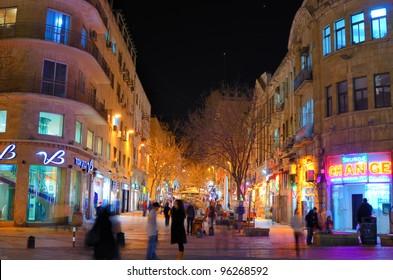 JERUSALEM - FEBRUARY 23, 2012: Ben Yehuda street February 23, 2012 in Jerusalem, Israel. The street is a major pedestrian mall and named after the founder of Modern Hebrew, Eliezer Ben-Yehuda.