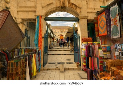 JERUSALEM - FEBRUARY 23: Souq in the Old City FEBRUARY 23, 2012 in Jerusalem, Israel. Souq's are open air marketplaces common in the middle east.