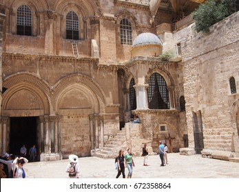 Jerusalem, Israel - 02 June, 2017: Outside the Church of Holy Sephulcre