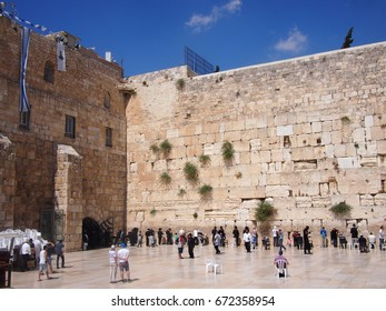 Jerusalem, Israel - 02 June, 2017: Religious Jewish people line up to pray at the Western Wall
