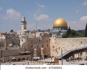 Jerusalem, Israel - 02 June, 2017: The sacred religious sites of the Western Wall and the Dome of the Rock