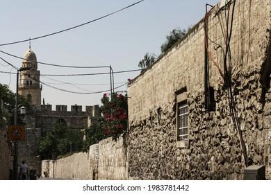 Jerusalem, Israel; 07.23.2017: Jerusalem street views as in 2017