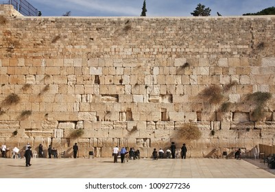 JERUSALEM. ISRAEL. 08 DECEMBER 2014 : Western Wall in Jerusalem. Israel