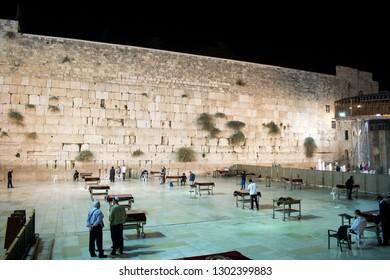 Jerusalem, Israel - 10 20 2017: the Western Wall aka Wailing Wall on Friday evening during Sabbath