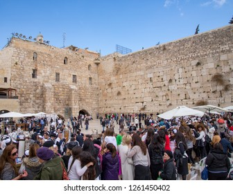Jerusalem, Israel - 10 March, 2014: Visitors at the Western Wall