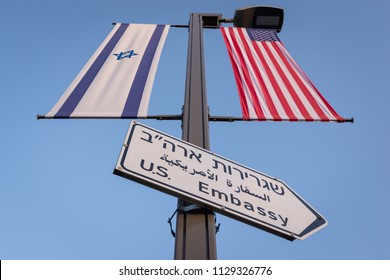 Jerusalem, Israel - 11 June, 2018: Entrance Sign leading to the United States Embassy