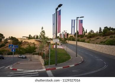 Jerusalem, Israel - 11 June, 2018: Entrance Road leading to the United States Embassy