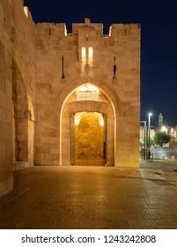 Jerusalem, Israel - 11-13-2018: Jaffa Gate entrance to the old city of Jerusalem at night