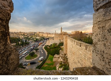Jerusalem, Israel - 11-6-2018: A view of Jerusalem from the old city walls