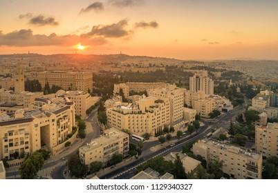 Jerusalem, Israel, 12 June, 2018: A view of Jerusalem at Sunrise