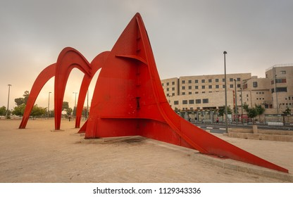 "Jerusalem, Israel - 12 June, 2018: ""Homage to Jerusalem"" by Alexander Calder (1977) is a  60-ton steel sculpture on  Mount Herzl near the military cemetary."